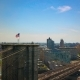 Aerial Drone View of New York Brooklyn Bridge and the Hudson River,  View a Flag