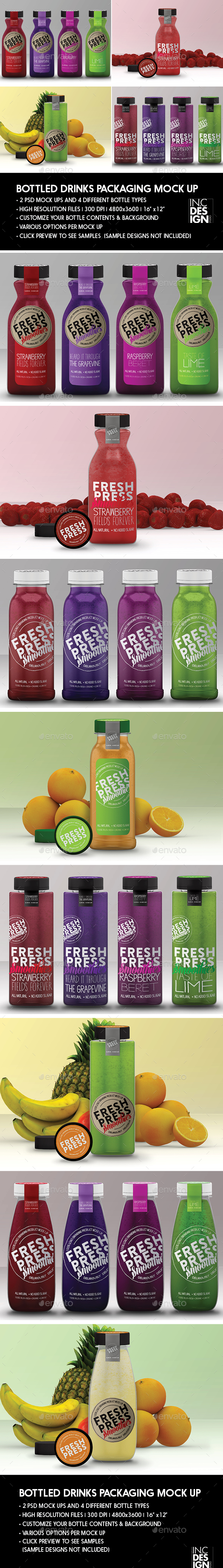 Bottled Juice / Smoothies Logo and Packaging Bottle Mock Ups