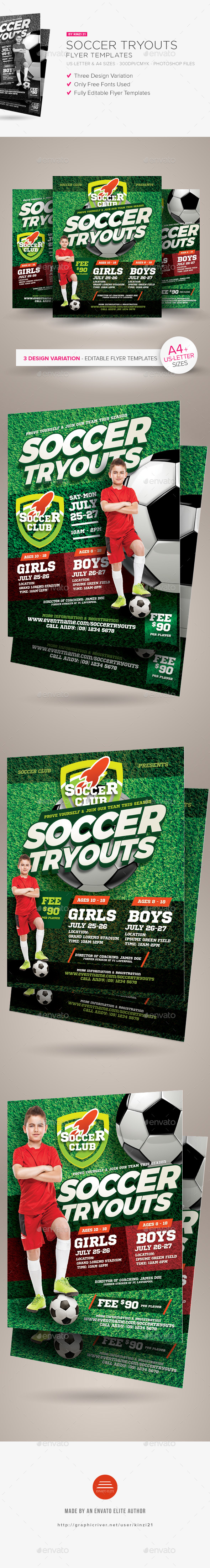 Soccer Tryouts Flyer Templates - Sports Events