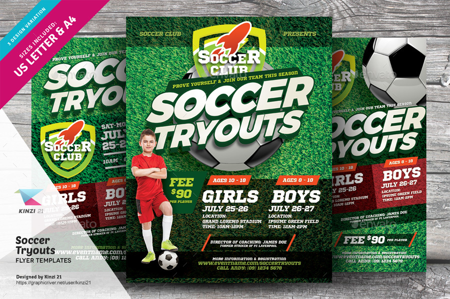 Soccer Tryouts Flyer Templates By Kinzi21 Graphicriver