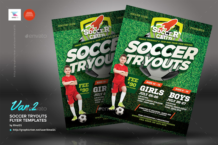 soccer tryouts flyer templates by kinzi21