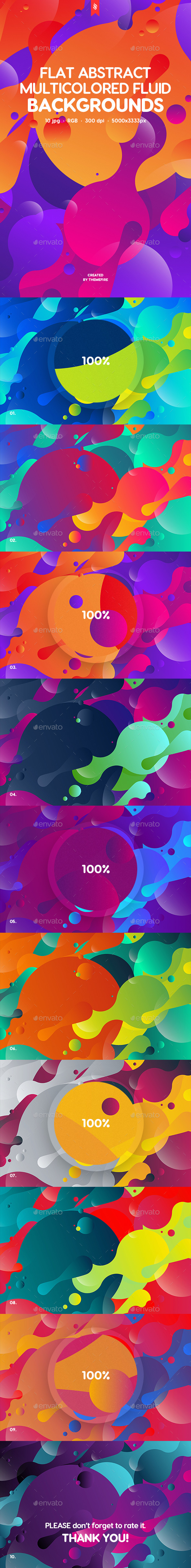 GraphicRiver Abstract Flat Multicolored Fluid Backgrounds 20386685