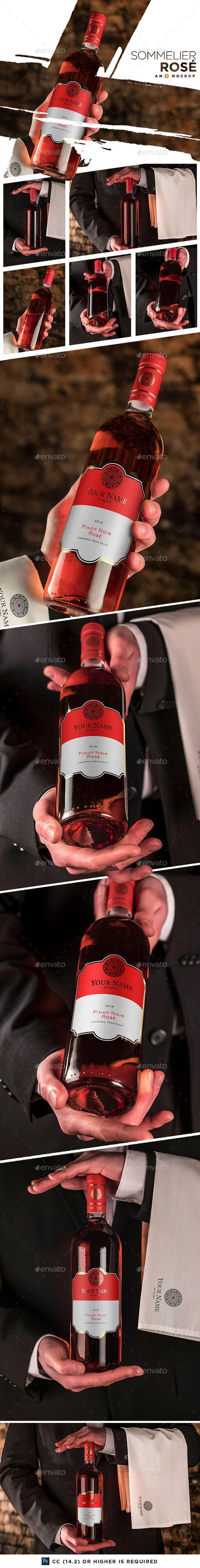 Sommelier Wine Mockup - Bordeaux Rosé - Product Mock-Ups Graphics