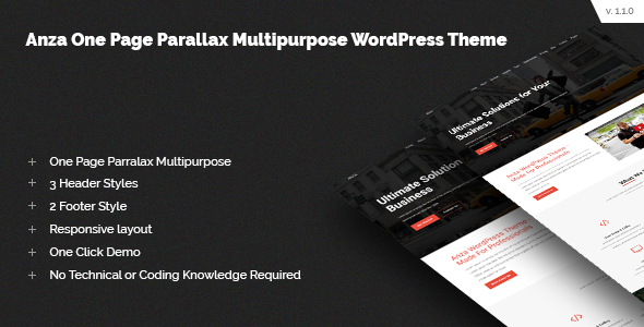 Anza One Page Parallax Multipurpose WordPress Theme - Business Corporate