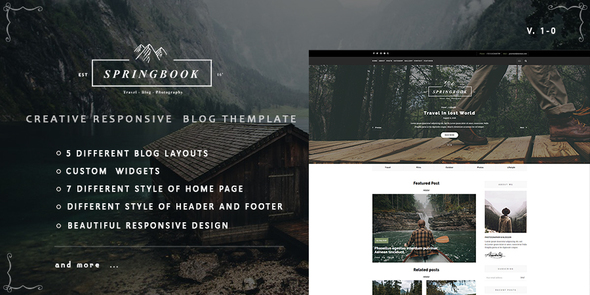 Springbook - Responsive   Blog Travel Photography Template