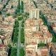 Drone Flying Above Famous Barcelona Blocks Pattern Spain