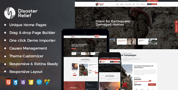Image of Disaster Relief A Charity WordPress Theme With Fund Raising and Events
