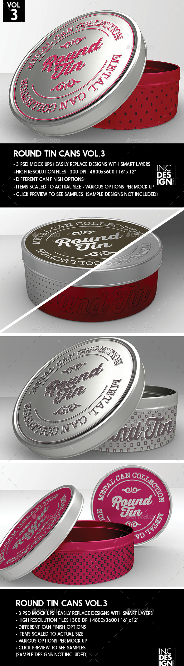 Round Tin Cans Vol.3 Packaging Mock Ups