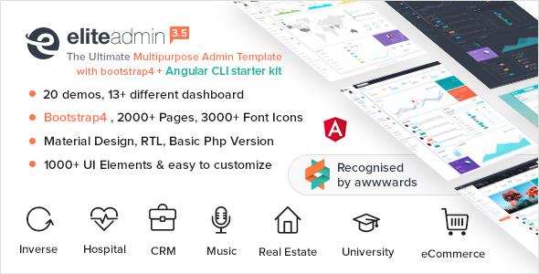 Elite Admin - Multipurpose Bootstrap 4  Admin Template  + Angular CLI Starter Kit