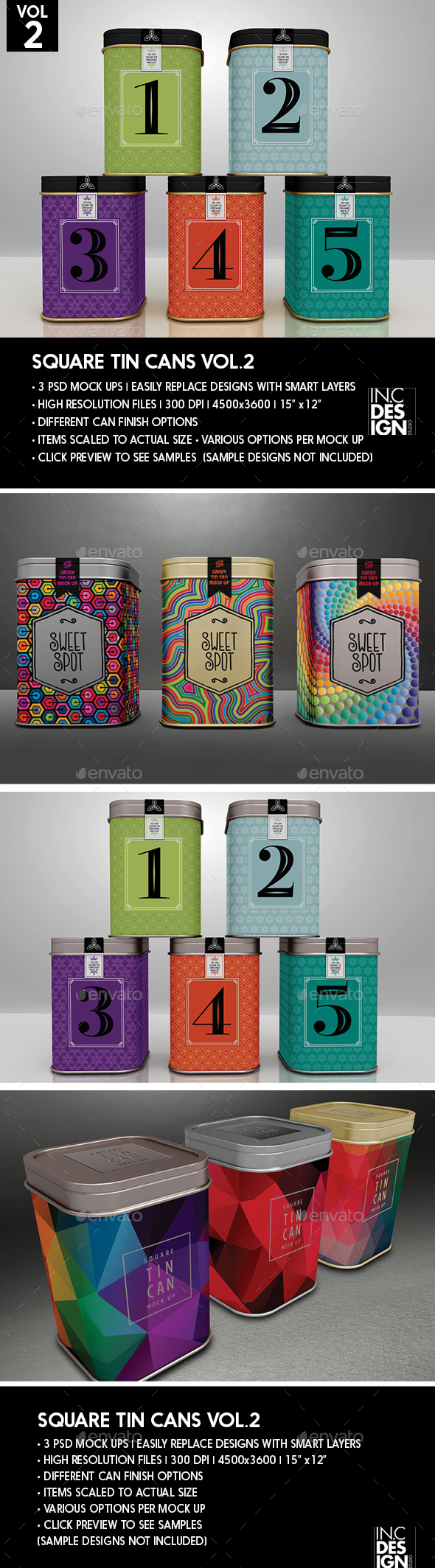 Square Tin Cans Packaging Mock Up  for Tea or Coffee or Storage