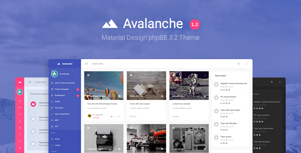 Avalanche – Material Design phpBB 3.2 Theme nulled