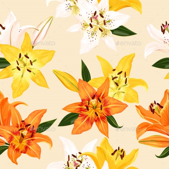 Seamless Pattern with Lilies - Flowers & Plants Nature