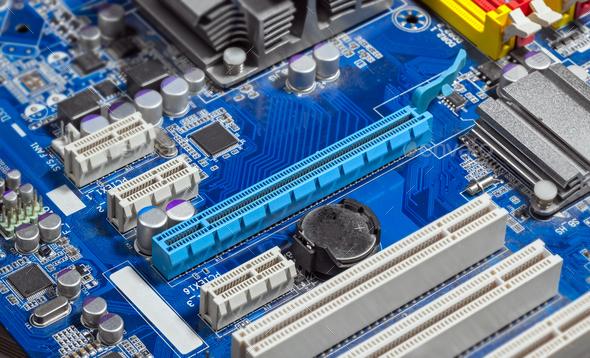 Close up PCI Express slots on motherboard