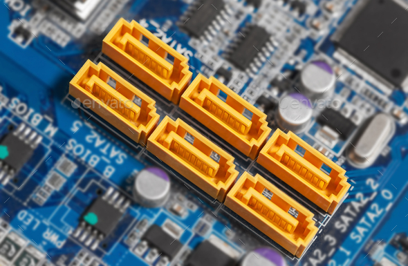 Motherboard SATA connectors - Stock Photo - Images