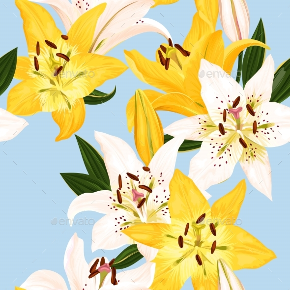 GraphicRiver Seamless Pattern with Lilies 20387322
