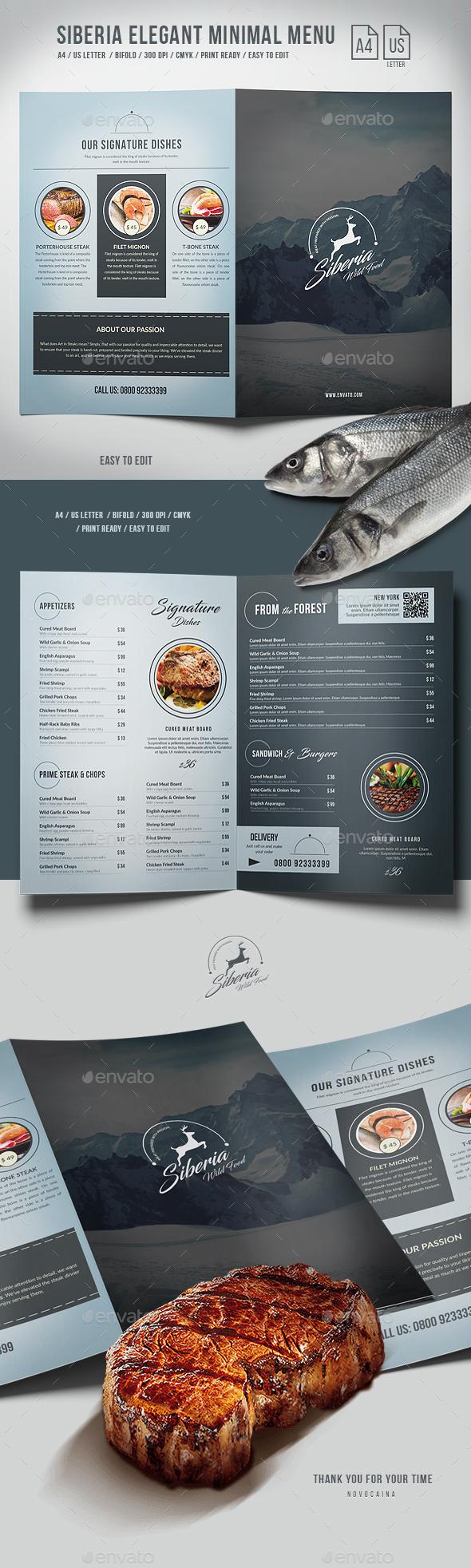 GraphicRiver Siberia Elegant Minimal BiFold Menu A4 and US Letter 20387607