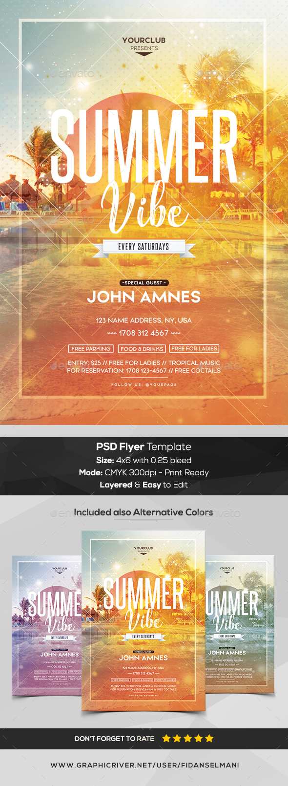 Summer Vibe - PSD Flyer Template - Clubs & Parties Events