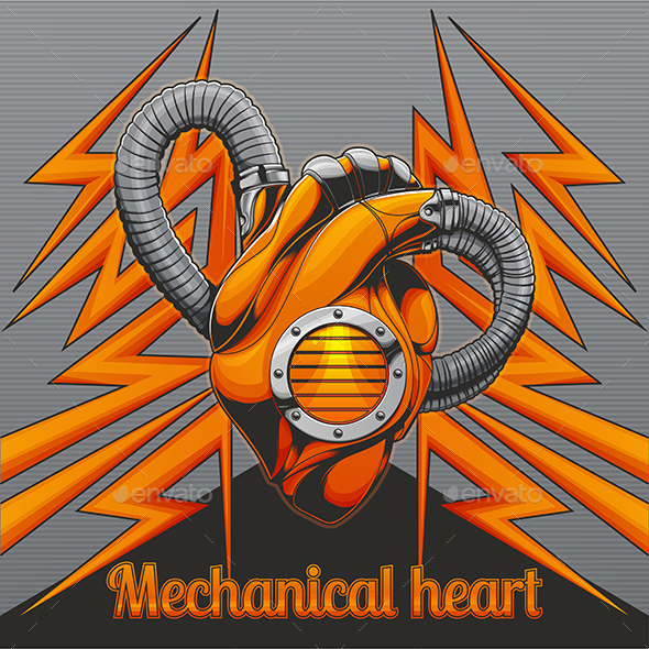 GraphicRiver Mechanical Heart on Background 20387872