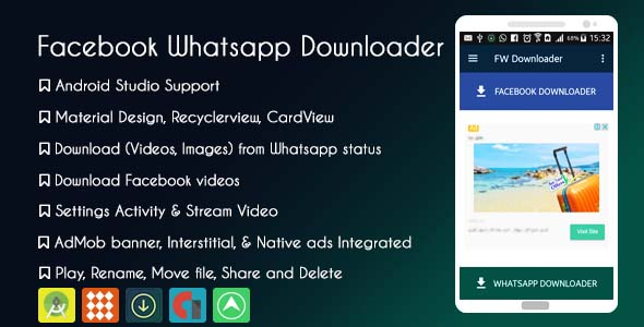 Facebook Whatsapp Status Downloader with AdMob and Native ads