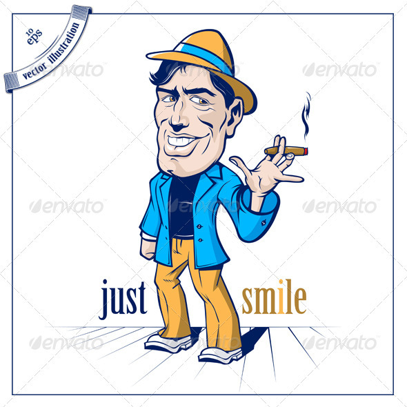 Cartoon Smile Cute Man Smoke - People Characters