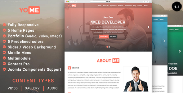 YoMe - Multipurpose Resume Joomla Template