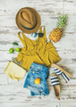 Colorful summer fashion outfit flat-lay over pastel background