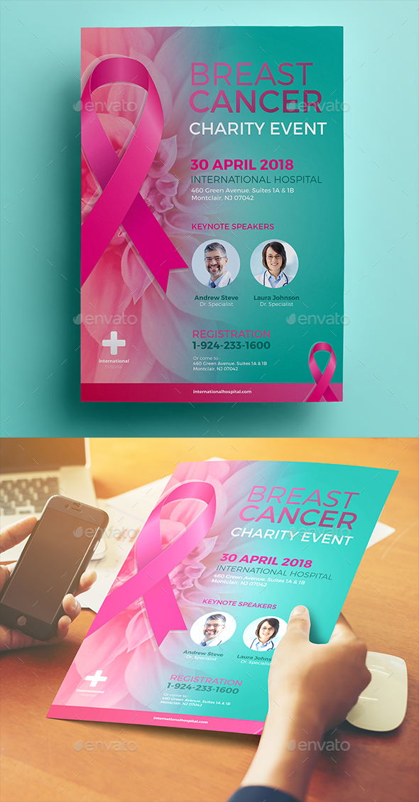 GraphicRiver Breast Cancer Charity Flyer 20374092