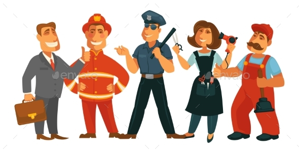 People Professions Fireman, Policeman, Businessman - People Characters