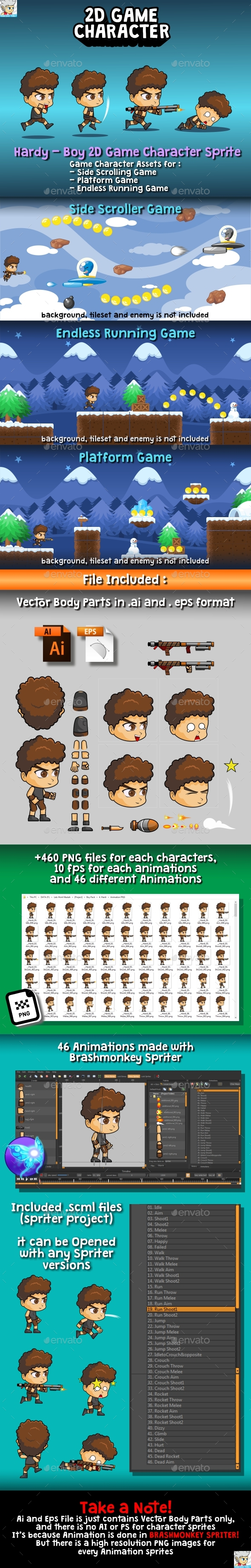GraphicRiver Hardy Boy 2D Game Character Sprite 20389022