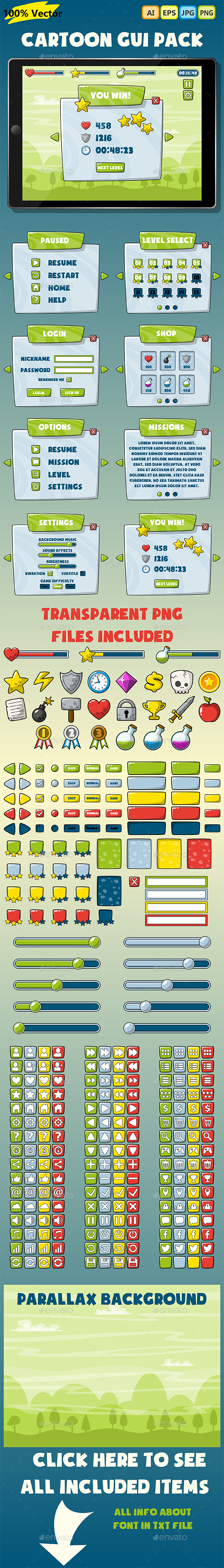 Cartoon GUI PACK #02 - User Interfaces Game Assets