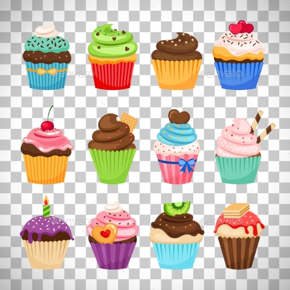 GraphicRiver Delicious Cupcakes Set on Transparent Background 20389277