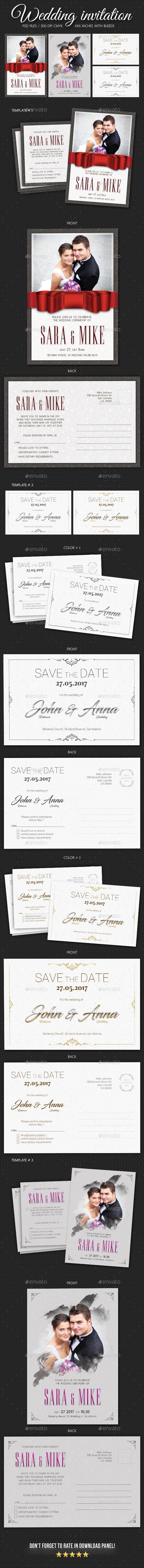 Wedding Invitation Bundle 3 - Cards & Invites Print Templates