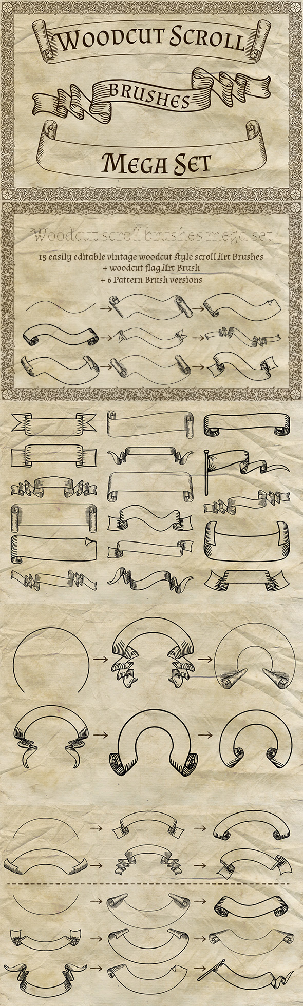 Woodcut Scroll Brushes Mega Set - Brushes Illustrator