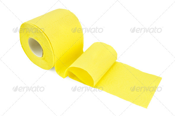 Toilet paper yellow - Stock Photo - Images