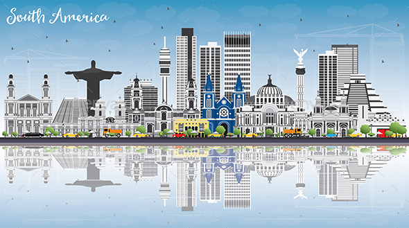 GraphicRiver South America Skyline with Famous Landmarks and Reflections 20389656