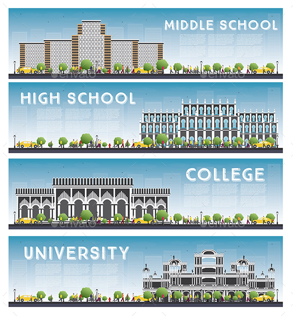 Set of University, High School and College Study Banners. - Buildings Objects