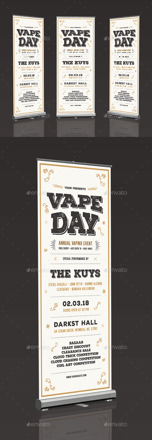Vintage Vape Event Roll Up Banner - Signage Print Templates