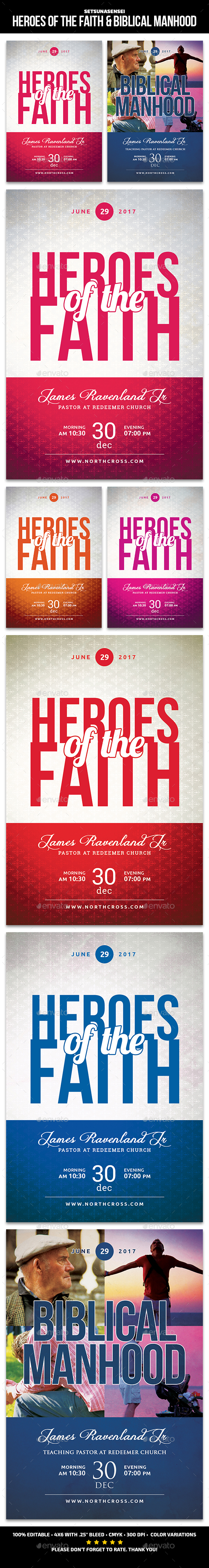 Heroes of the Faith & Biblical Manhood Church Flyers - Church Flyers