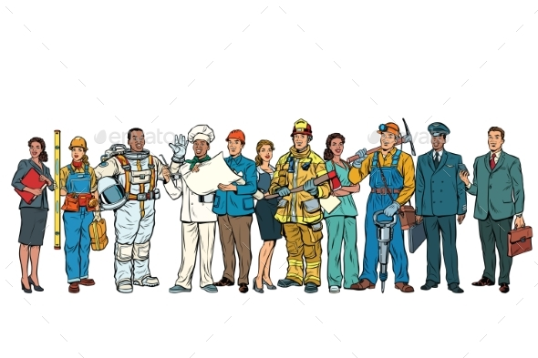 Set People of Different Professions Standing - People Characters