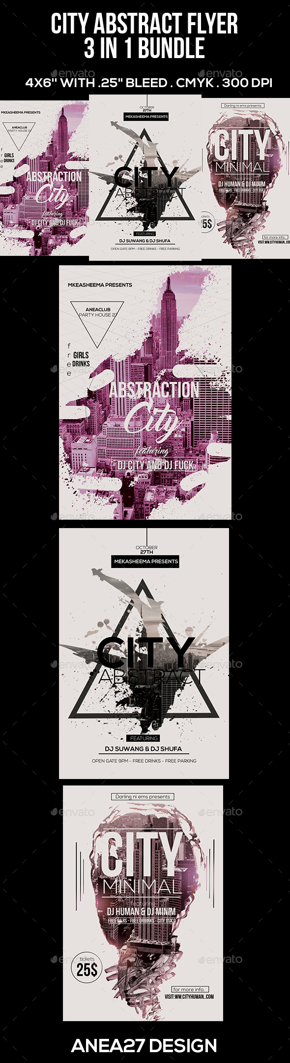 3 in 1  City Abstract  Flyer - Clubs & Parties Events