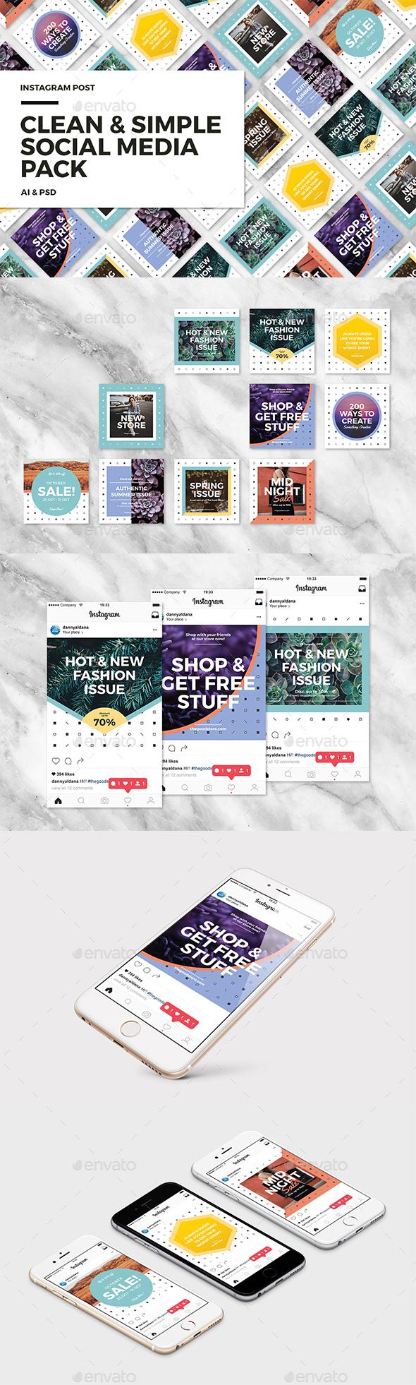 Clean & Simple - Social Media Pack - Social Media Web Elements