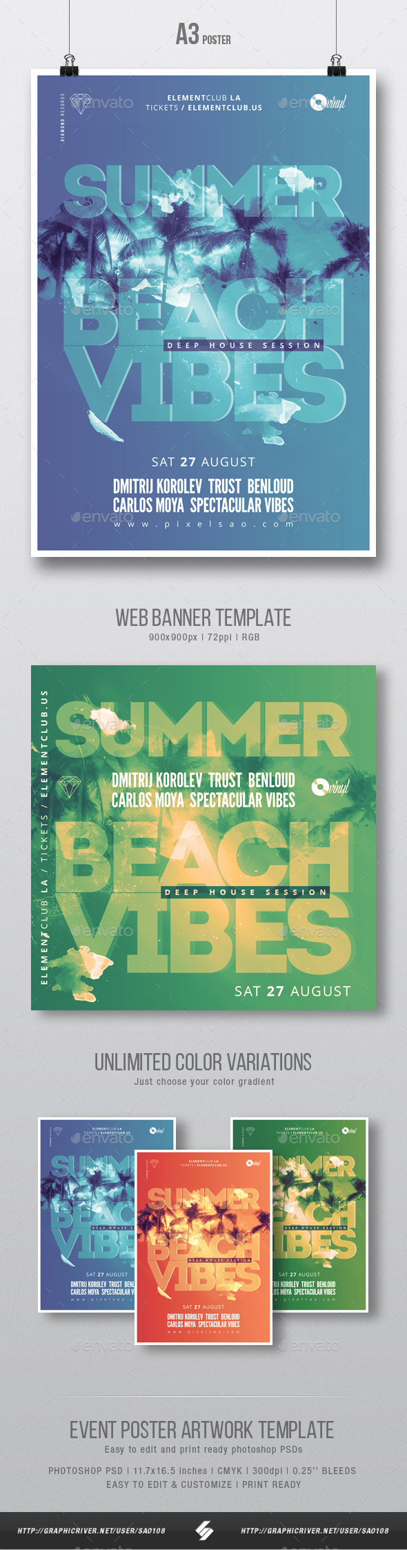 Summer Beach Vibes - House Music Flyer / Poster Template A3 - Clubs & Parties Events