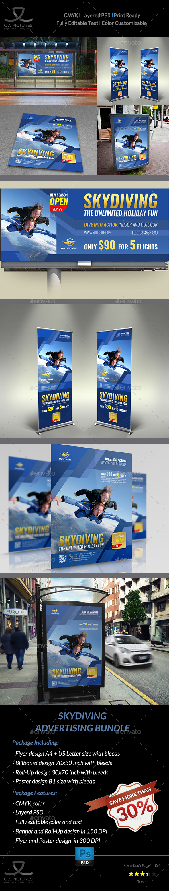 Skydiving Advertising Bundle - Signage Print Templates