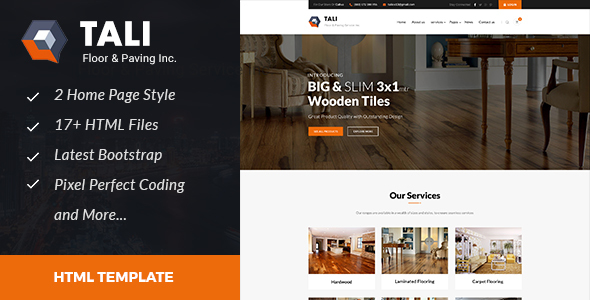 Tali : Floor and Paving Service HTML Template - Business Corporate