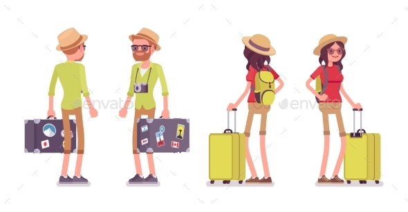 Tourist Man and Woman Standing - Travel Conceptual