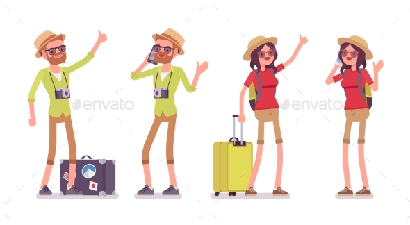 Tourist Man and Woman Set - Travel Conceptual