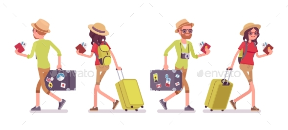 Tourist Man and Woman Walking - Travel Conceptual