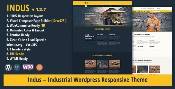 INDUS - Contruction Business WordPress Theme - Business Corporate
