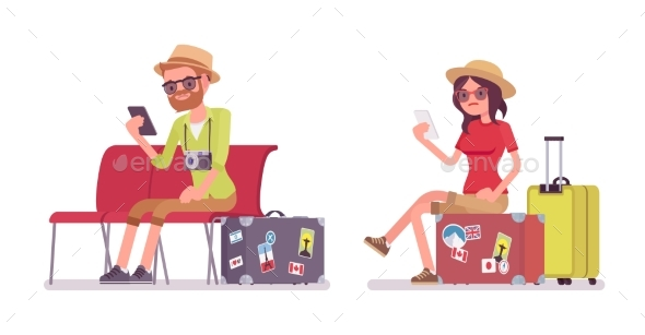 Tourist Man and Woman Sitting - Travel Conceptual