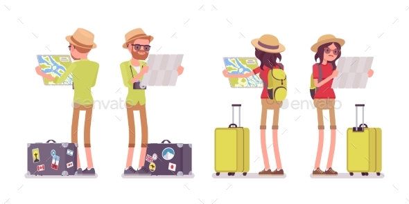 GraphicRiver Tourist Man and Woman Map Looking 20390194
